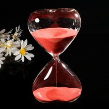30 Minutes Heart-shaped Transparent Hourglass Sandglass Glass Sand Timer Clock Home Decor Wedding Decoration Accessories Gifts