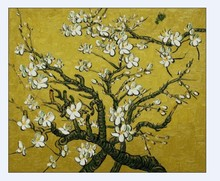 Handpainted Vincent Van Gogh Painting Branches of an Almond Tree in Blossom Still Life Painting on Canvas No Framed