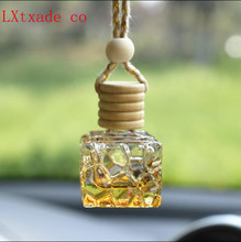 New Style 7ml Empty Glass Bottles Car Perfume Pendant Wholesale Retail Parfume Essential Oil Quadrate Packaging Containers