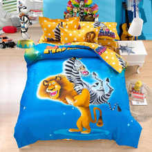 2015 cute cartoon Madagascar printed bedding set cotton full queen king duvet quilt covers for children's boys home decor linens