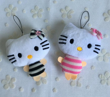 Sweet New Navy Stripes Hello Kitty Plush Stuffed TOY DOLL ; 10CM Approx. Hello Kitty Wedding Bouquet Decor Plush Toys(China)