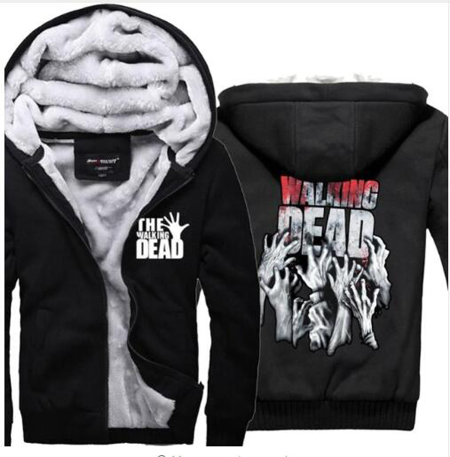 2019 Mens autumn black tracksuit The Walking Dead Hoodies Zombie Hands Scary Winter Fleece Super Warm Sweatshirts jacket clothes