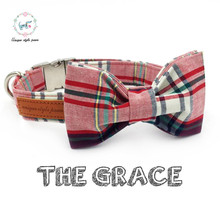 pink plaid dog collar with bow tie matel buckle cotton fabric dog &cat necklace dog collar pet supply(China)