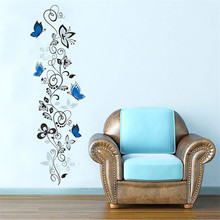 DIY Flower Rattan Butterfly Pattern Wall Sticker For Kids Rooms PVC Removable Fridge Poster Home Decoration Accessories