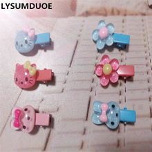 LYSUMDUOE New Hello Kitty Hair Accessories Floral Hair Clip Flower Kids Cute BB Headband Hairpins Metal Barrette Girl Hairpin