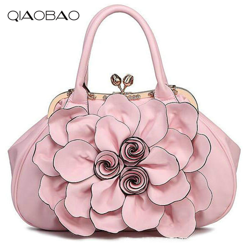 QIAOBAO HOT!!!2017 womens candy color handbag vintage fashion shoulder Flower bag Leather bags women messenger bag<br>