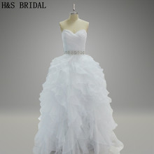 Real Model Picture Organza ruffles elegant bridal dress white Jewry sash beautiful china wedding dresses