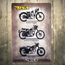 Retro Vintage BSA Motorcycle Metal Sign Wall Man Cave Garage Shop Club Decor
