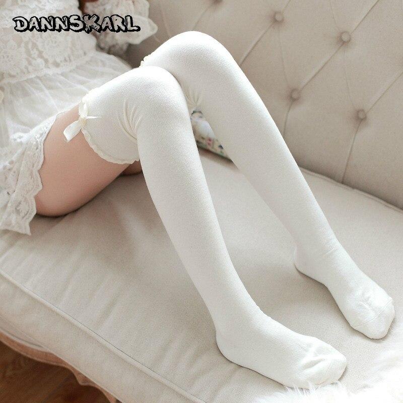 Ladies Socks Ribbon Stocking Cotton Lace Thigh High Leg Warm Winter Comfy Girls