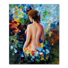 Sexy Beauty Back Among Floral Painting Canvas Handamde Knife Impression Style Unframed