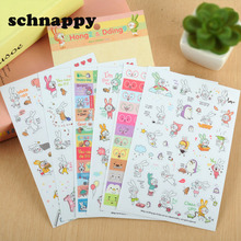 6 Sheets/set Rabbit Book Sticker For Diary Scrapbook Calendar Notebook laptop sticker Label Mobile Phone Decor Baby Girl Toys(China)