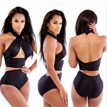 Buy 2018 Womens Sexy Geometric wrap bikini set halter top high waist swimsuit two piece beach swimwear white/white/blue/green/pink