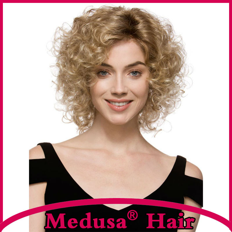 Medusa hair products: Synthetic lace front wigs for women Medium length curly shag styles blonde pastel wig Peruca loira SW0276C<br><br>Aliexpress