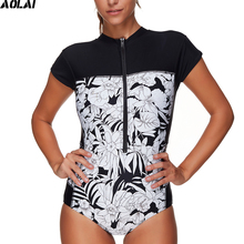 2017 New Short Sleeves Rash Guard Women Surf Swimwear Floral One Piece Swimsuit Surfing Clothing High Neck Zipper Swimming Suits(China)