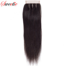 Sweetie Hair Brazilian Straight Three Part Lace Closure 4x4 100% Remy Human Hair Swiss Lace 130% Density(China)