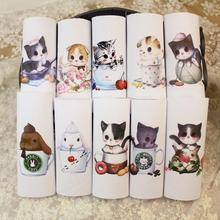 New 2pcs/lot 15x15cm Cotton canvas Cartoon cat fabric telas Patchwork for sewing bag Cushions shoes DIY Handmade fabric Cloth D4