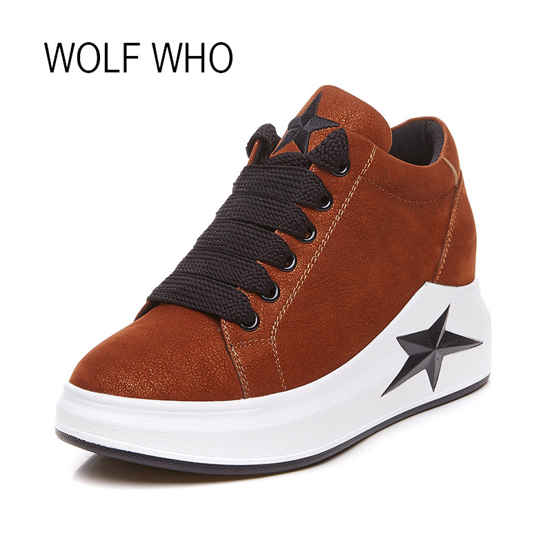 WOLF WHO 2018 Leather Women Sneakers Star Ladies Platfrom Wedge Sneakers Female Winter Sneakers Tenis Femininos Casual H-190<br>