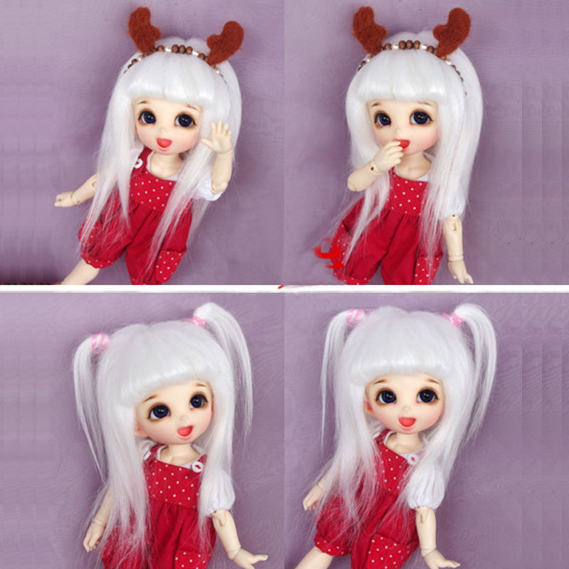 "New 3/""-4/""9-10cm BJD fabric fur wig Black for AE PukiFee lati 1//12 Doll Antiskid"