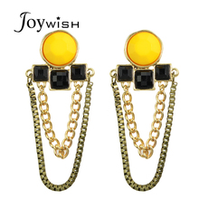 Newindy  New Coming Bohemian Fashion Design Sunflower Blue  Rhinestone Drop Earings Bijoux Women Jewelry