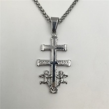 Cara Vaca Cross with Angels Pendant Necklace Vintage Christian Jewelry Stainless Steel Caravaca Cross Necklace P528