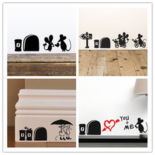 I love you so much 3d Funny mouse hole wall stickers decals Living room Bedroom wall art wallpaper mural Wedding decoration(China)
