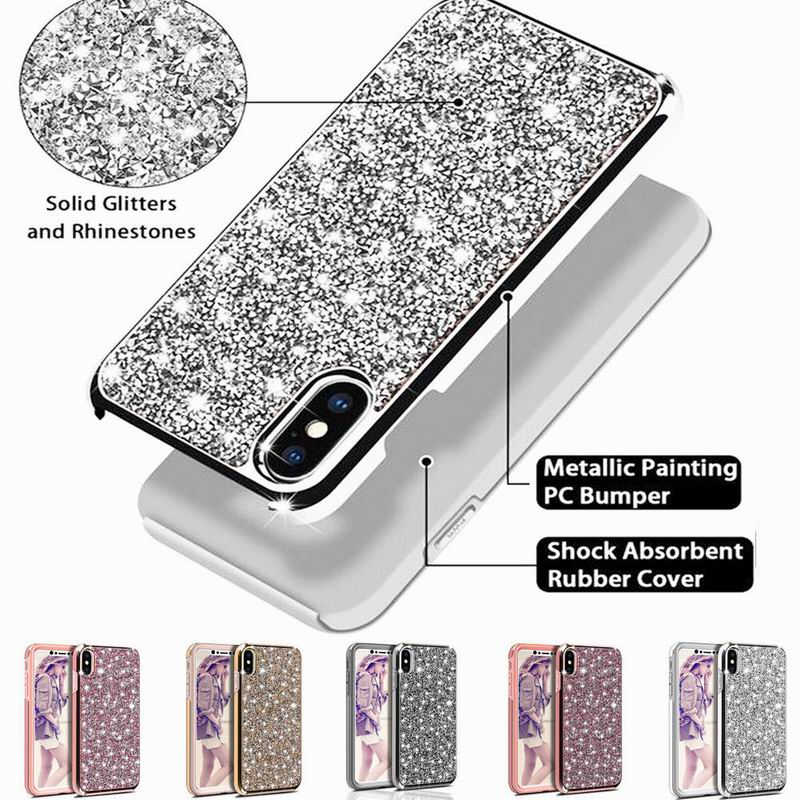 YISHANGOU Luxury Glitter Sparkly Diamond Bling Phone Case iPhone X 10 8 Plus 6 6S 7 Plus Dual Layer TPU+PC Shockproof Cover