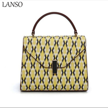 2017 Hot Selling Ladies lock Flip Cover Luxury Crossbody Bag Yellow stripes Messenger Bag Tote Bags Women PU Leather Hand bag(China)
