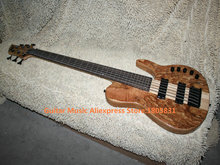 Natural 6 Strings Electric Bass Wooden ONE Piece Neck 9v battery High Quality Best Selling