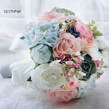 Buy Bridal Bouquet Wedding Flowers Garden Bouquet Flowers Bridesmaid Bouquets Roses Hydrangea for $39.99 in AliExpress store