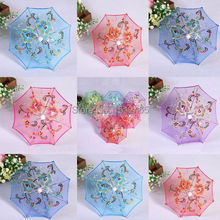 Free shipping,Mini Lace Umbrella Flower Silk Lace Cloth Toy Parasol Umbrella for Children 30cm Dia UM02(China)