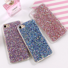 Bling Crystal Silicone Soft Cover For iphone 6 6s 7 Plus 5 5s SE Flash Powder Glitter Cell Phone Case For iphone 7 7 Plus Shell