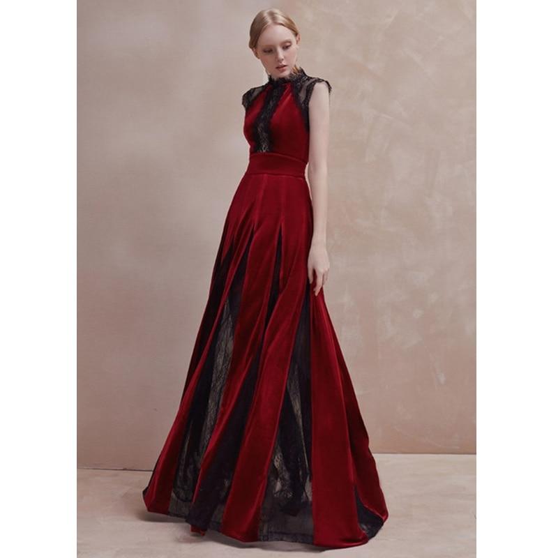 see through black lace patchwork burgundy velvet dress round neck sleeveless floor length draped long dresses autumn dress sale