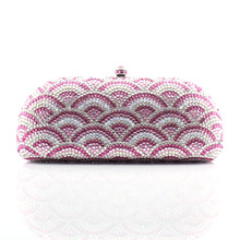New jeweled clutch Wedding Bridal purse Luxury Diamond Evening Bags Lady Pink clutch Women Crystal Party Bags (1013-PR )