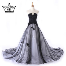 Elegant Black and White Long Evening Dresses 2017 Sweetheart Sleeveless Lace A-line Prom Dress Party Dubai Robe De Soiree(China)
