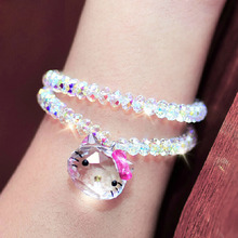 USTYLE Genuine 925 Sterling Silver Austrian Crystal  Lovely Cat Hello Kitty Bracelets & Bangles Fashion Jewelry for women YB0001