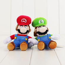 16cm Super Mario Plush Toys with Hook Mario bros Luigi Plush Doll Stuffed Cute keychain Toys For Children Gifts(China)