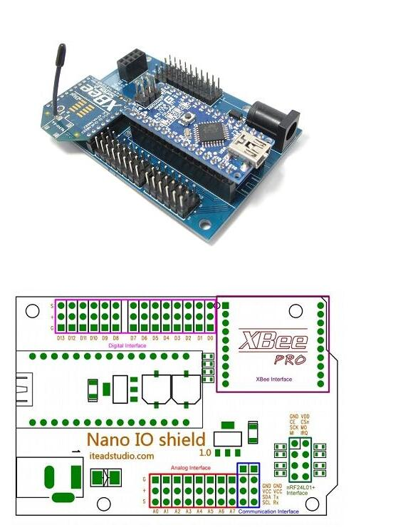 Itead Smart Home Automation Module Special sensor expansion board with XBEE base 328P IO shield for Arduino Nano