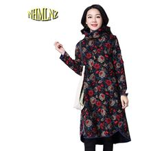 2017 Latest Autumn Winter Women Dress Sexy Big yards Slim Women Dress Warm Cotton High-collar Print Long sleeve Dress OK24(China)