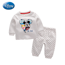 Disney 2pcs/sets baby boys Suits Set Autumn Coat+Pants Pure Cotton Dress Clothes Long-Sleeve Mickey Mouse Cartoon Cute 2017 New(China)