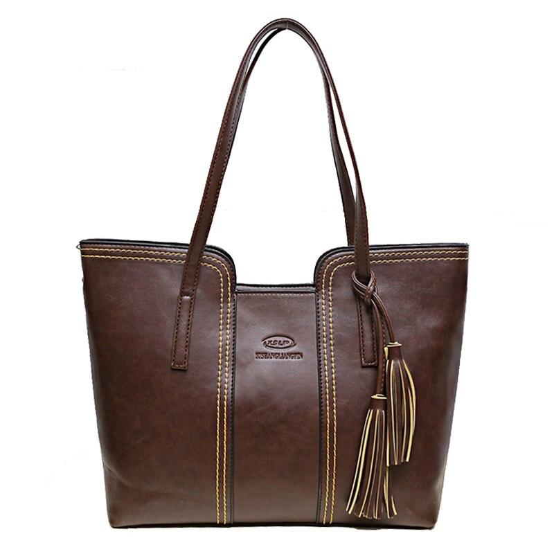 2016 famous brand tassel women leather handbags vintage shoulder bags solid big bag female over the shoulder crossbody handbag<br><br>Aliexpress