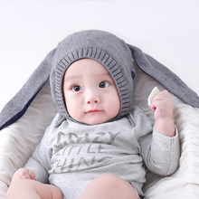 6-18 Months Autumn Winter Toddler Infant Knitted Baby Hat Adorable Rabbit Long Ear Hat Baby Bunny Beanie Cap Photo Props 5 Color(China)