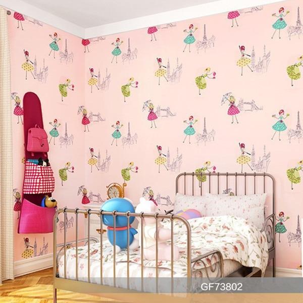 environmental carton wallpaper pink beautiful girl wallpaper for kids room decoration<br>