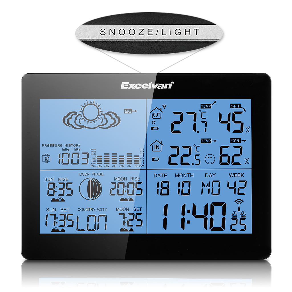 LCD Display Wetterstation Funkuhr mit Kalender Thermometer Hygrometer