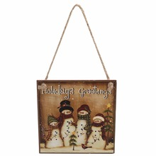 Rustic Wooden Plaque Holidays Greetings Snowman Hanging Board Wall Sign Art Christmas Party Home Garden Decoration Favor Gifts