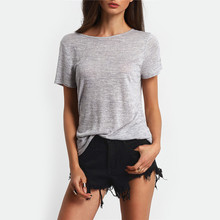Summer Women T Shirt Grey Backless Bandage Cross High Quality Cotton Short Sleeves Tees Top XS S M L