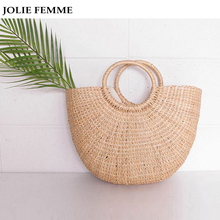 JOLIE FEMME New Women Weave Handmade Bags Korea Fashion Moon Pack Handbags Large Capacity Semi-round Handbags Beach Clutch Sac(China)