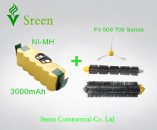 New Spare 14.4V 3.0Ah Replacement Brush Set with Rechargeable Ni-MH Battery Packs for iRobot Roomba 600 700 Series Special Price