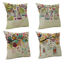 Pastoral Style Linen Cushion Covers Colorful Flower Bird Owl Printed Case Cute Animal Pattern 45x45cm Pillow Cover Home Textile