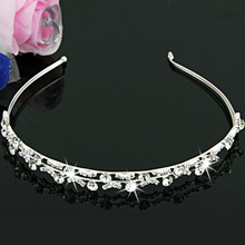 "1PCS 2016 NEW  Silver Plated Rhinestone Crystal Flower Pearl Hair Alice Band Headband 1.5"" HOT"