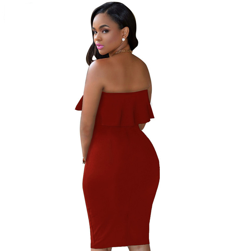ADEWEL 2018 Women Off Shoulder Ruffles Two Piece Dress Sexy Bodycon Club Crop Top & Midi Dress Sets Party Dress Suit Vestidos (8)